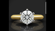 1Ct Moissanite Solitaire Engagement Ring 14k Round Yellow  Gold