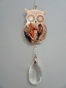 Rose Gold Owl Suncatcher with Clear Crystal