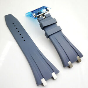 26mm Gray Rubber Band Stainless Steel Clasp Strap for AP 5400 15300 Royal Oak