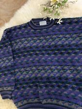NOMADIC Traders 100% Pure Wool Sweater Men's Extra-Large Blues Greens Black