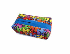 Handmade Pocket Tissue Cover Handmade Fabric Travel Size Puzzle Pattern