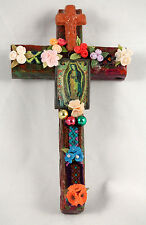 Wood Cross w Appliqués Mexico Folk Art Hand Made/Painted Signed by Artist  #1