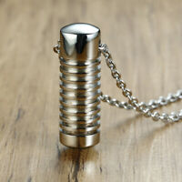 Stainless Steel Cremation Urn Ashes Pill Pendant Memorial Chain Necklace