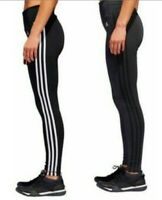 NWT Adidas Ladies' 3 Stripe Active Tight Fitted Black/Carbon Black S M L XL