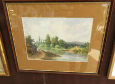 Les bords de Seine à Croissy. Aquarelle signée Georges 1889. Scène Animée