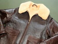 US Army AAF WW2 EASTMAN B-17 BOMBER PILOT AN-J-4 SHEEPSKIN LEATHER FLIGHT JACKET