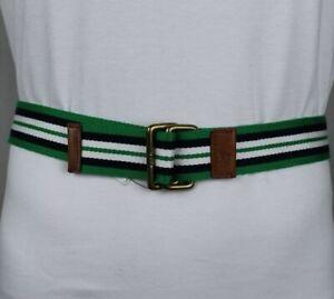 Polo Ralph Lauren Navy Green Fabric Belt Brass Buckle NWT S