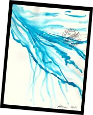 Blue Brush Water Flow 2015 Contemporary Art Abstract PAINTING SIGNED