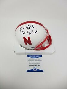 Nebraska Tommie Frazier Go Big Red Signed Autographed White Mini Helmet BAS