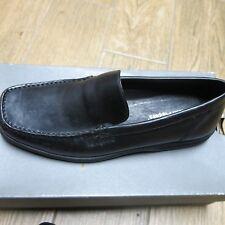 NEW Mens Hush Puppies Cumulus Black Leather Dress Shoes/Slip-On Size 9M, EU 43