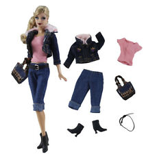 6in1 Jeans Wear clothes/outfit Coat+vest+pants+belt+shoes+bag For Barbie Doll