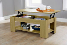 Modern Lift Up Top Coffee Table Storage Area Under Shelf Occasional Lap Top Oak