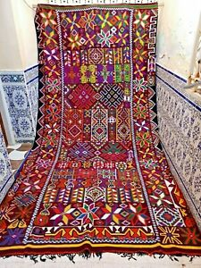 "Vintage Moroccan Kilim Rug Handmade Wool Tribal Old Carpet Azilal 12'4"" X 6'5"""