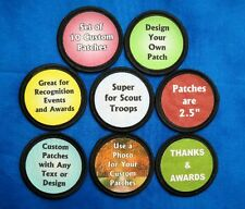 "10 Custom Printed Fabric Patches 2.5"" Round You Choose the Design and Text"