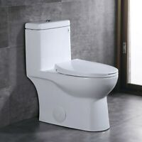 DeerValley Comfort Height Dual-Flush Elongated One-Piece Toilet w/ Seat White