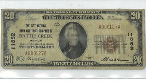 1929 Twenty Dollar National Currency Battle Creek Low Serial Number 174865p