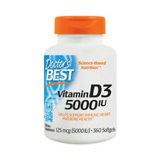 Vitamin D-3, 5000iu x 360 Softgels, Cold/Flus, Immune, Heart - Doctors Best