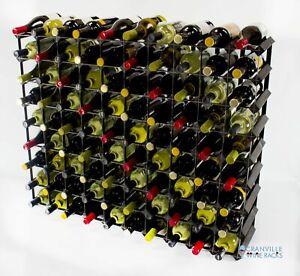Cranville wine rack storage 90 bottle black stain wood and black metal assembled