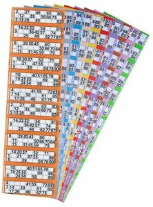 48000 Bingo Tickets 6 to View Flyers Singles, Colours: Orange,Lilac,Pink,Grey