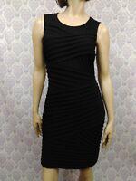 Calvin Klein Black Sheath Dress Womens 10 Stretch Sleeveless Cocktail Career