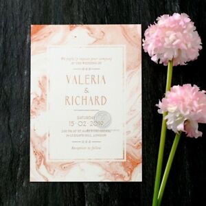 Foiled Wedding Invitation - Serenity Marble / IWF16117-TR-RG / Sample Only