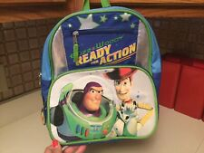 Kids Toy Story Backpack 12� Woody Buzz Ready For Action Canvas Adjustable Euc