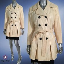 Vintage 60s Mod LILLI ANN Cream Coat Double Breasted Peacoat Trench Belted L