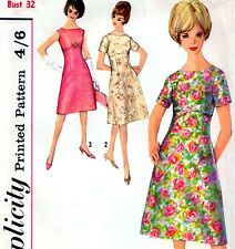 """Vintage 60s DRESS Sewing Pattern Bust 32"""" Sz 8 RETRO Evening PARTY Empire Line"""