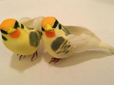 SET OF 2 ARTIFICIAL BIRDS! YELLOW WITH GREY & ORANGE ACCENT 4 INCHES LONG