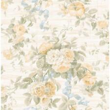 Wallpaper Designer Yellow Taupe Green Rose Floral with Blue Ribbon on Cream