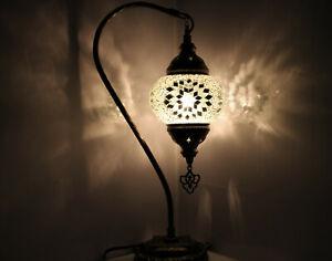 White Flower Turkish Colour Moroccan Mosaic Handmade Glass Light Desk Table Lamp