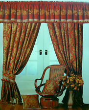 """REGAL DAMASK GOLD 90"""" x 54"""" WINE BURGUNDY HEAVY READY MADE PENCIL PLEAT CURTAINS"""