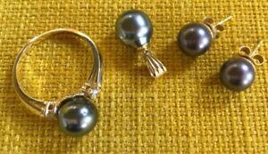 Ring Ohrstecker Anhänger Gold 585 mit grauen Perlen elegantes Set