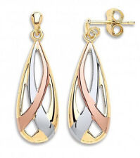 BACK IN STOCK: 9CT HALLMARKED YELLOW WHITE & ROSE GOLD CRISSCROSS DROP EARRINGS