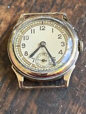 9ct Gold Vintage Small Gents Military Style Wristwatch Chester 1938