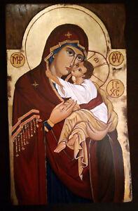 """""""THEOTOKOS""""  icona sacra dipinta a mano su vecchio legno scavato a mano"""