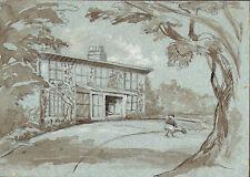 CASA DI CAMPAGNA CON FIGURA - Acquerello Originale 1800 Country House Drawing