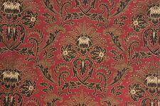 Art Nouveau Antique French curtain drape c1880 heavy red black fabric cotton