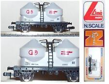 LIMA 464 CARRO MERCI 2 SILOS TRASPORTO CEMENTO 26Ton Nr.55073F SNCF BOX SCALA-N