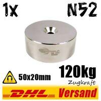 Neodym Magnet 50x20mm 5x2cm 120kg N52 mit Loch runder Hebemagnet Suchmagnet