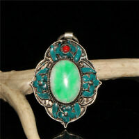 Chinese Old Craft  Made Old Tibetan Silver Cloisonne Inlaid Green Jade Pendant
