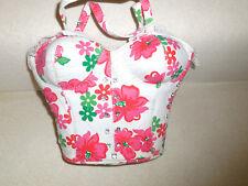 PInk & Green Flower BRA Corset Bustier Shape Handbag Purse Rhinestones& Lace NEW