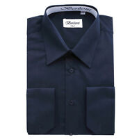 BERLIONI ITALY MEN'S CONVERTIBLE CUFF SOLID ITALIAN FRENCH DRESS SHIRT NAVY