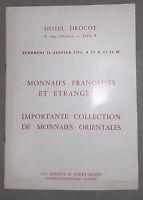 1975 Catalogue de vente Hôtel Drouot Salle N°8 MONNAIES FRANCAISES ORIENTALES