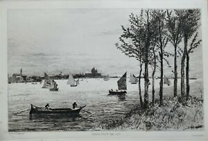 VENICE from the LIDO, Heseltine etching original antique print 1880