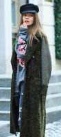 ZARA NEW AW16 LONG CROSSOVER COAT BOTTLE GREENFAUX FUR SIZE XS S M Ref. 7697/627