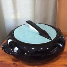 Shawnee Kenwood Covered Casserole Dish SUNDIAL design Black Turquoise 1950's