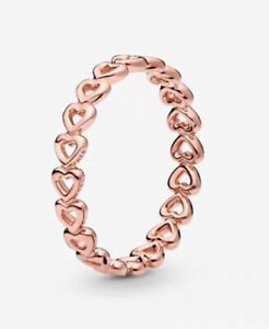 Pandora Authentic Rose™ Gold Linked Love Hearts Stackable Ring Charm 180177#7-5