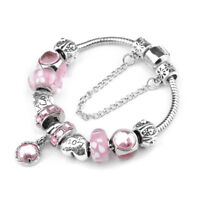 Women's Silver Plated Pink Crystal Charm Bracelet Love Heart Beads Bangle Gifts