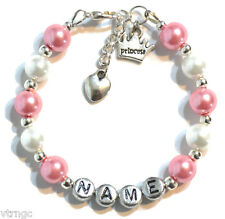 Princess Personalized Girl's Charm Bracelet Hand Made Gift Any Color Any Name